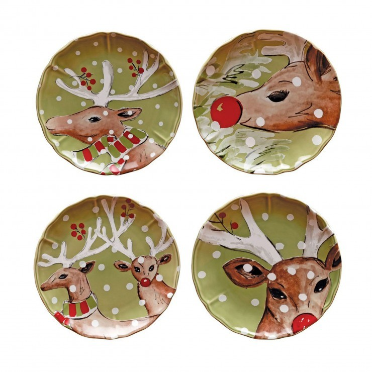 DEER FRIENDS SALAD PLATE (SET OF 4)