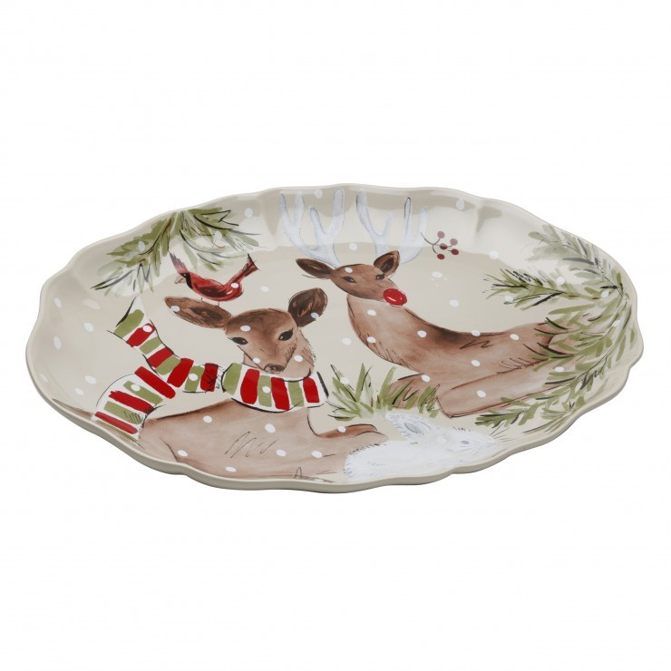 DEER FRIENDS LARGE OVAL PLATTER