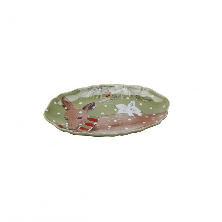 DEER FRIENDS SMALL OVAL PLATTER