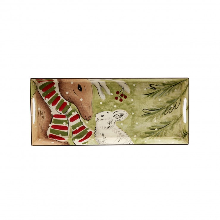 DEER FRIENDS RECTANGULAR TOLEWARE TRAY