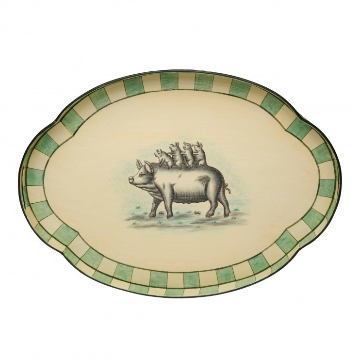 PIGS ON PARADE OVAL TOLEWARE SCALLOPED TRAY