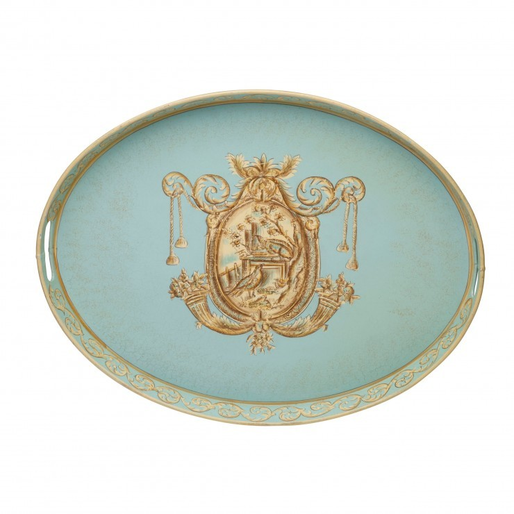 BLUE TOILE OVAL TOLEWARE TRAY