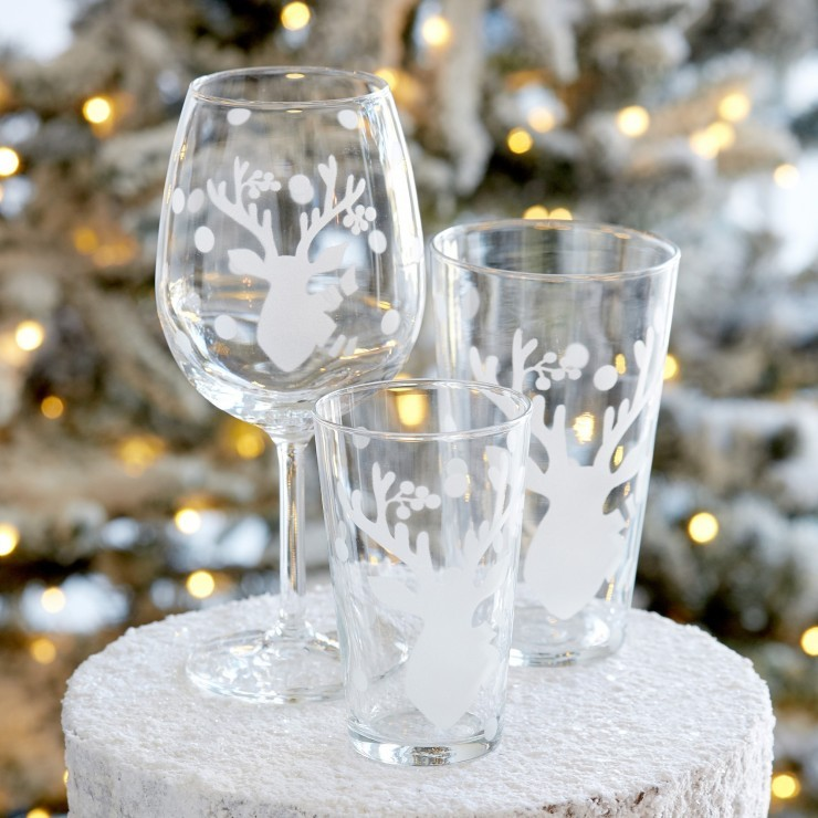 GLASSWARE DEER FRIENDS TALL TUMBLER (6)