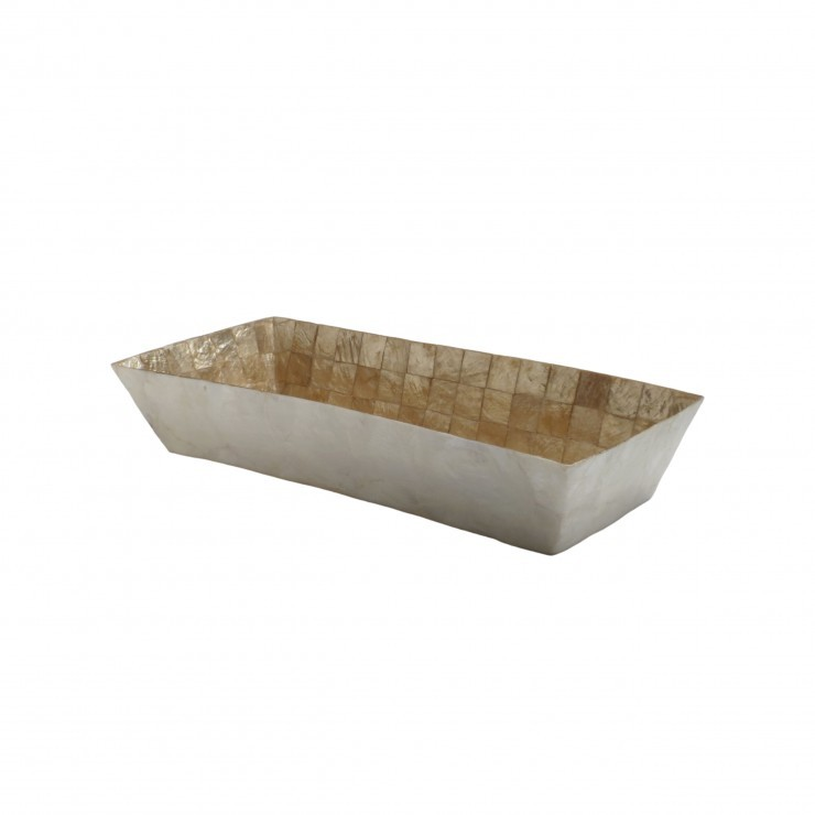 RECTANGULAR TOWEL TRAY CAPIZ SHELLS