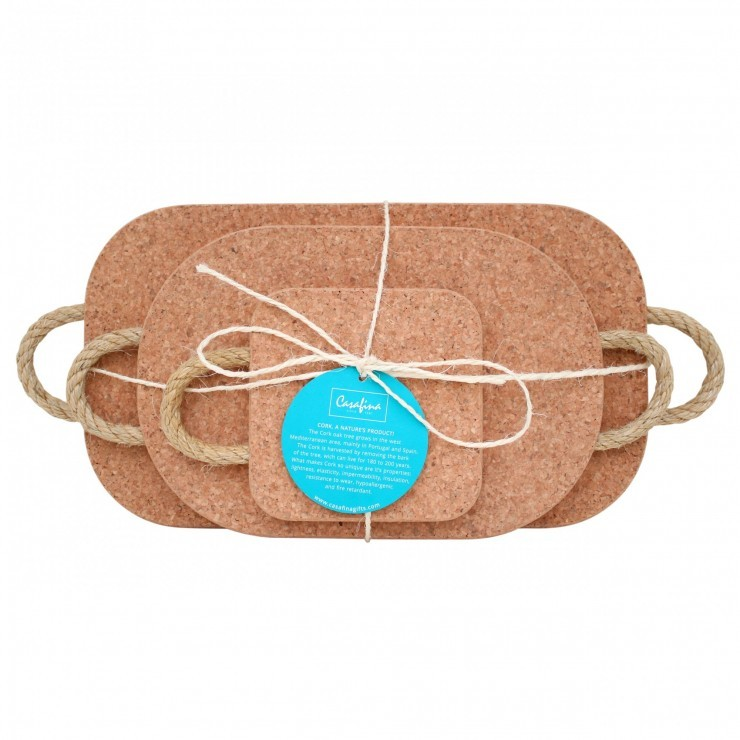 CORK SET OF 3 TRIVETS W/ROPE HANDLES