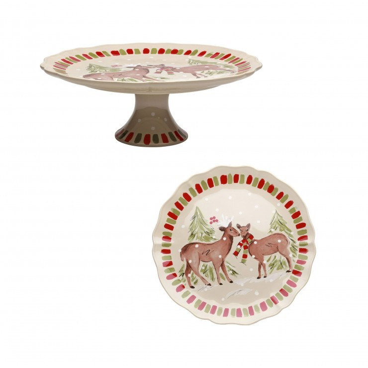 DEER FRIENDS LARGE PEDESTAL PLATE