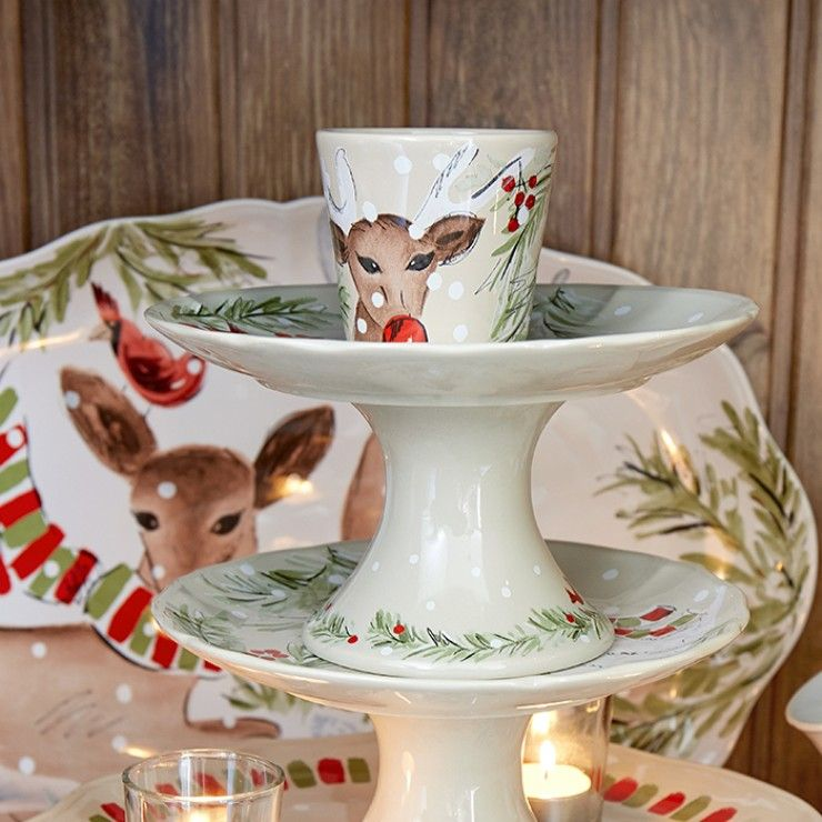 DEER FRIENDS SMALL PEDESTAL PLATE