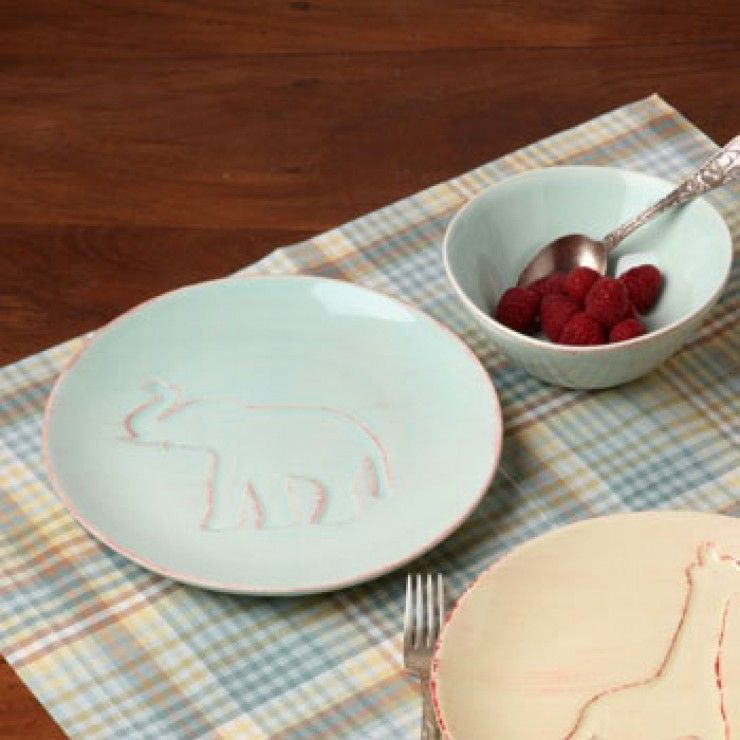 LES ENFANTS PLATE AND BOWL - SET ELEPHANT