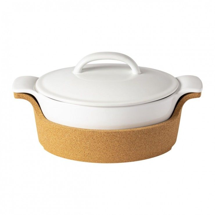 OVAL COV. CASSEROLE W/ CORK TRAY ENSEMBLE