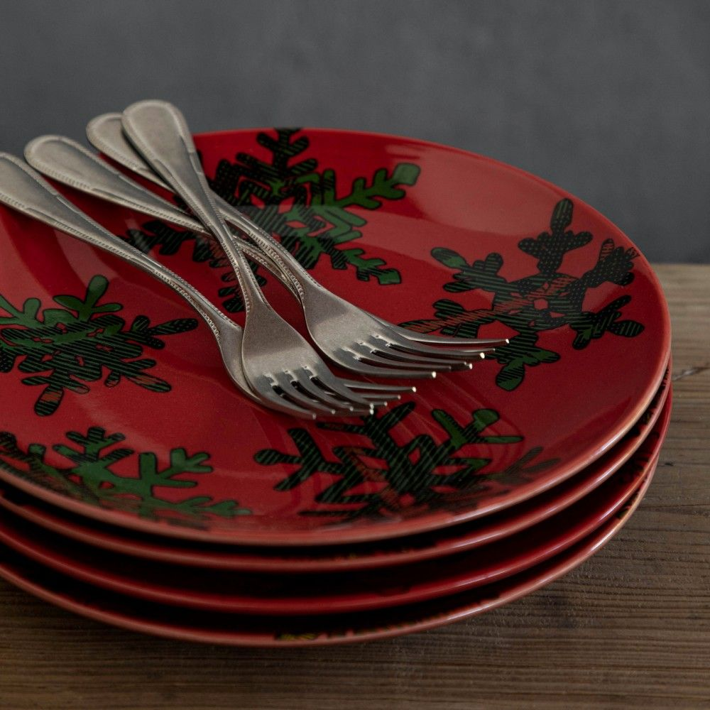 HOLIDAY-SNOWFLAKE SET 4 DESSERT PLATES RED