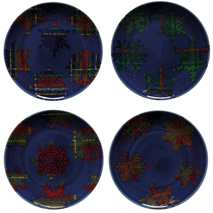 HOLIDAY-SNOWFLAKE SET 4 DESSERT PLATES BLUE