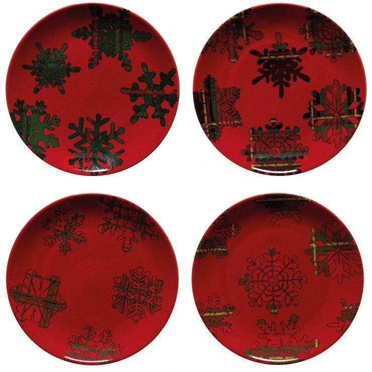HOLIDAY-SNOWFLAKE SET 4 DESSERT PLATES RED